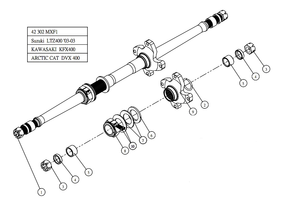 consumibles suzuki ltz 400   eje trasero de quad reforzado